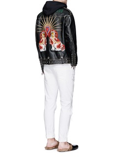Gucci Dog appliqué stud leather biker jacket