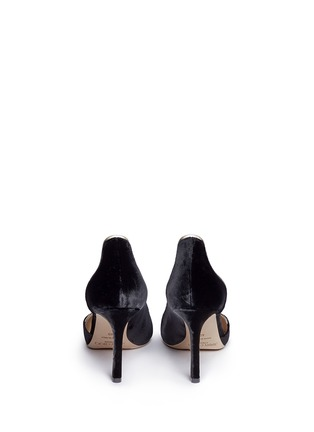 Back View - Click To Enlarge - Jimmy Choo - 'Logan 85' mirror leather trim velvet d'Orsay pumps