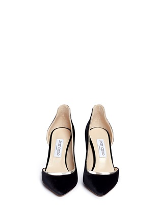 Front View - Click To Enlarge - Jimmy Choo - 'Logan 85' mirror leather trim velvet d'Orsay pumps