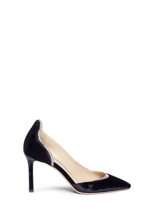 Main View - Click To Enlarge - Jimmy Choo - 'Logan 85' mirror leather trim velvet d'Orsay pumps