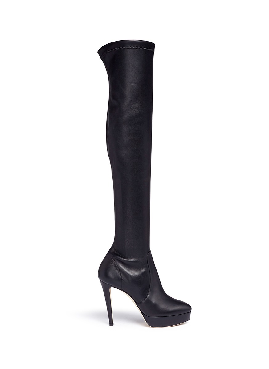 Mason stretch nappa leather platform boots by Jimmy Choo