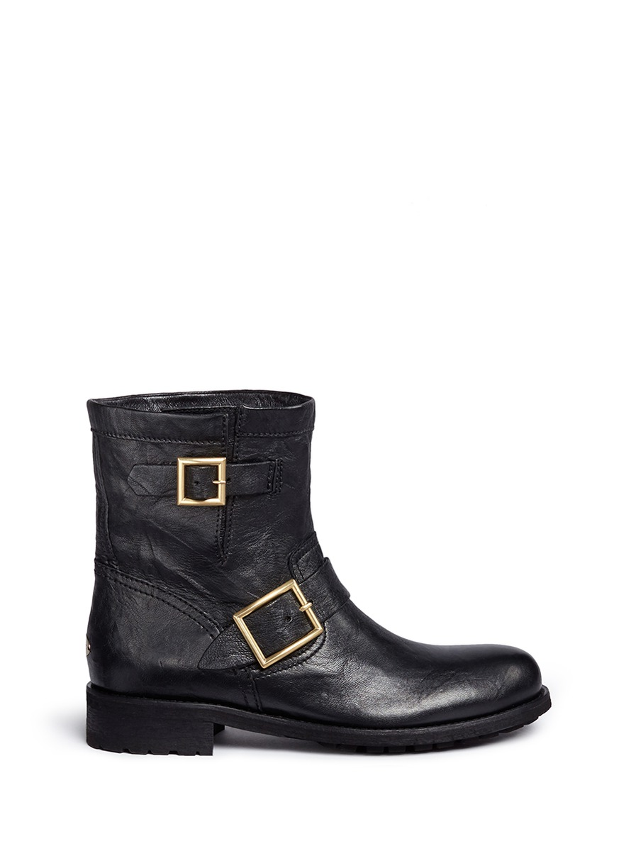 Youth buckle leather biker boots by Jimmy Choo