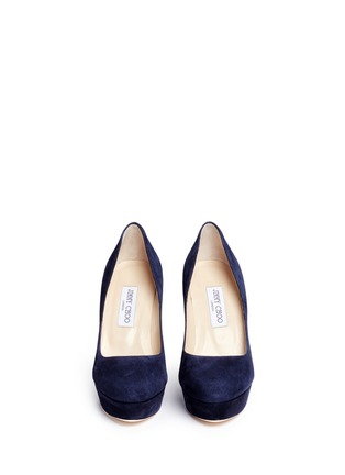 Front View - Click To Enlarge - Jimmy Choo - 'Alex' acetate heel suede platform pumps