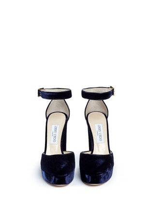 Front View - Click To Enlarge - Jimmy Choo - 'Daphne 120' ankle strap velvet platform pumps