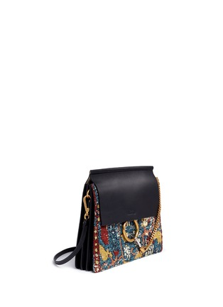 Figure View - Click To Enlarge - Chloé - 'Faye' medium tapestry jacquard panel leather shoulder bag