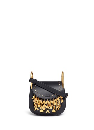 Main View - Click To Enlarge - Chloé - 'Hudson' mini heart charm leather saddle bag