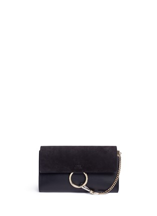 Main View - Click To Enlarge - Chloé - 'Faye' suede and leather clutch