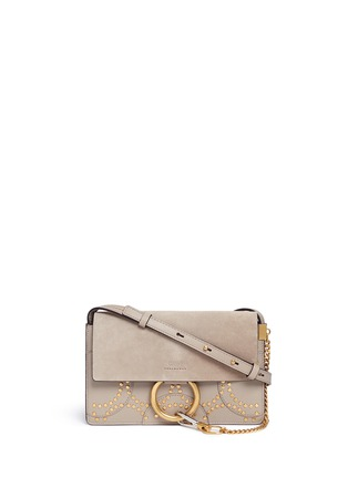 Main View - Click To Enlarge - Chloé - 'Faye' small stud suede and leather crossbody bag