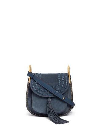 Main View - Click To Enlarge - Chloé - 'Hudson' small braided suede saddle bag