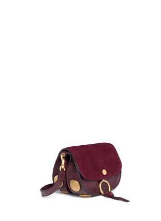 Detail View - Click To Enlarge - Chloé - 'Kurtis' mini suede flap leather crossbody saddle bag