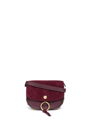 Main View - Click To Enlarge - Chloé - 'Kurtis' mini suede flap leather crossbody saddle bag