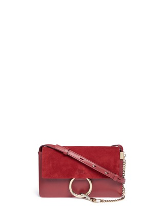 Main View - Click To Enlarge - Chloé - Faye' small suede and leather crossbody bag