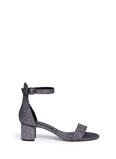 Pedder Red Glitter mesh strap block heel sandals
