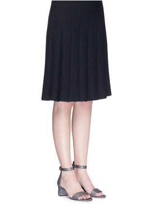 Figure View - Click To Enlarge - Pedder Red - Glitter mesh strap block heel sandals