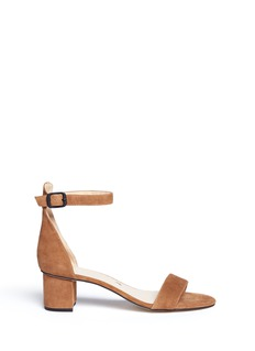 Pedder Red Block heel ankle strap suede sandals