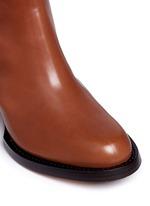 Chunky heel zip leather boots