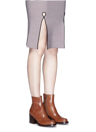 Figure View - Click To Enlarge - Dries Van Noten - Chunky heel zip leather boots