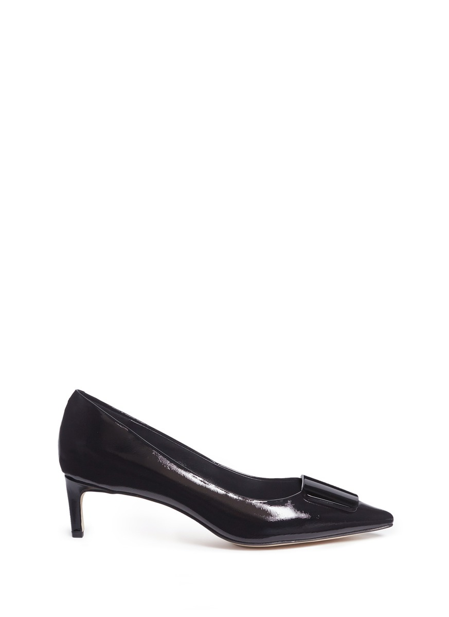 Enamel plaque patent leather pumps by Pedder Red