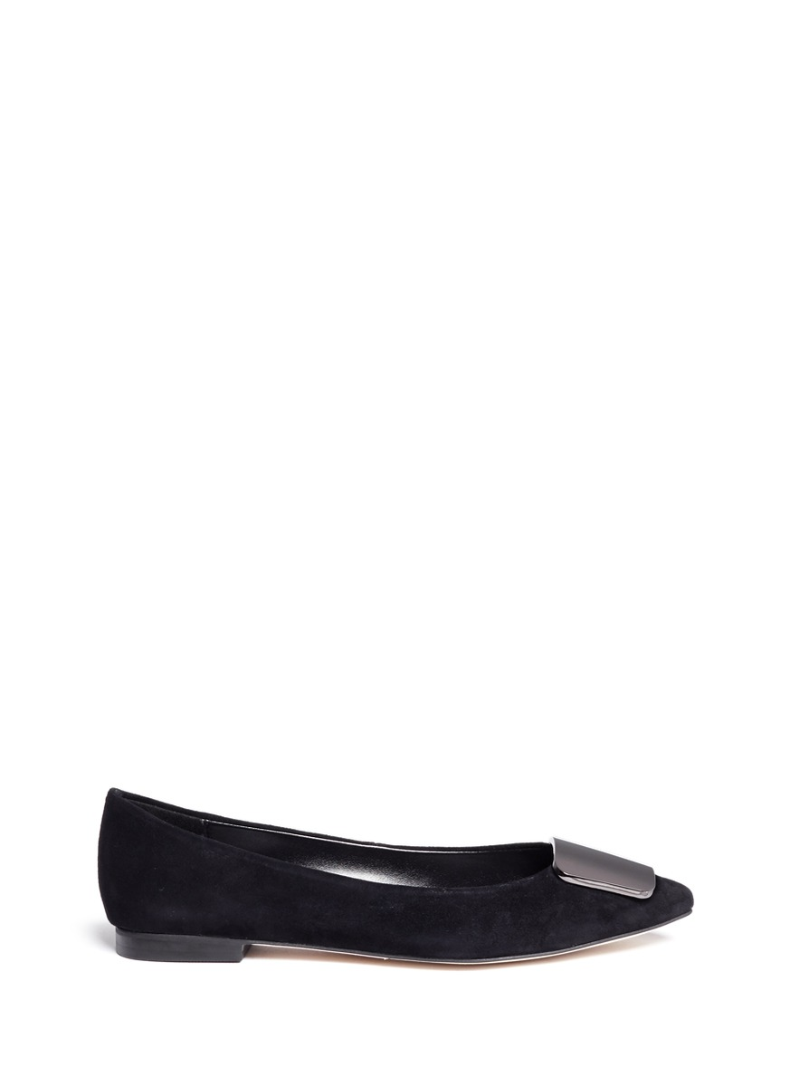 Jamie metal plaque suede flats by Pedder Red