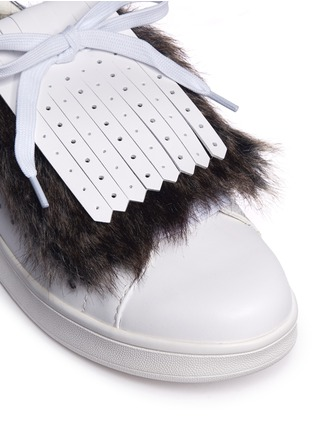 Detail View - Click To Enlarge - Pedder Red - Detachable faux fur kiltie leather sneakers