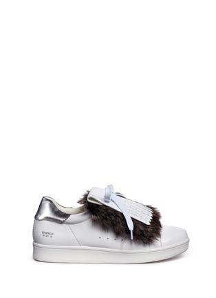 Main View - Click To Enlarge - Pedder Red - Detachable faux fur kiltie leather sneakers