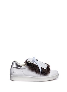 Pedder Red Detachable faux fur kiltie leather sneakers