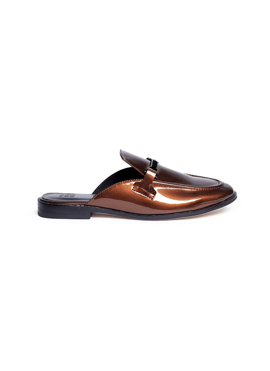 T-bar hardware patent leather slide loafers by Pedder Red