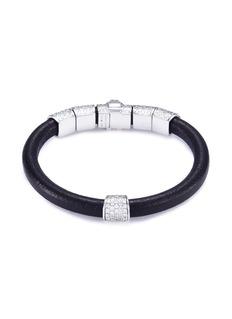 Shamballa Jewels 'Korne Pavé' diamond 18k gold leather bracelet
