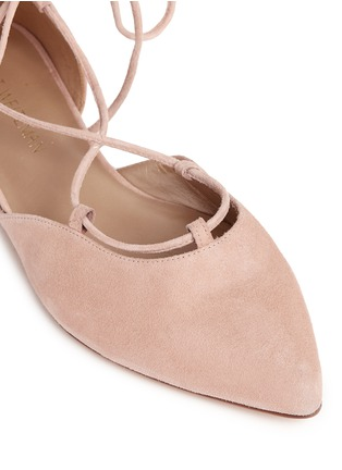 Detail View - Click To Enlarge - Stuart Weitzman - 'Gilligan' d'Orsay suede lace-up flats