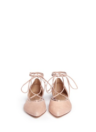 Front View - Click To Enlarge - Stuart Weitzman - 'Gilligan' d'Orsay suede lace-up flats