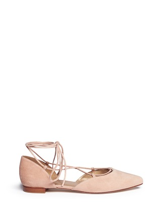 Main View - Click To Enlarge - Stuart Weitzman - 'Gilligan' d'Orsay suede lace-up flats