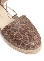 'Walk My Way' glitter leopard print espadrille sandals