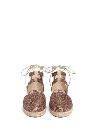 Stuart Weitzman-'Walk My Way' glitter leopard print espadrille sandals