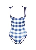'The Poppy' low back gingham check tie swimsuit
