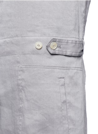 Detail View - Click To Enlarge - Vince - Linen blend utility long sleeve rompers