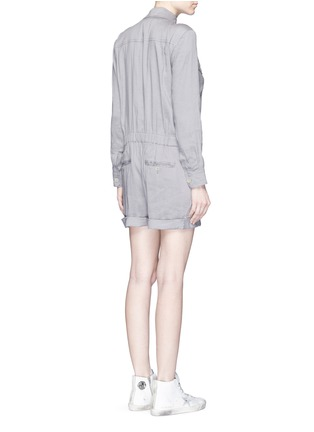 Back View - Click To Enlarge - Vince - Linen blend utility long sleeve rompers