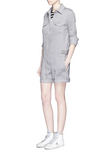 VINCE Linen blend utility long sleeve rompers