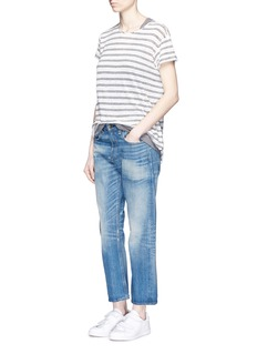 VINCE Rolled sleeve double stripe linen T-shirt