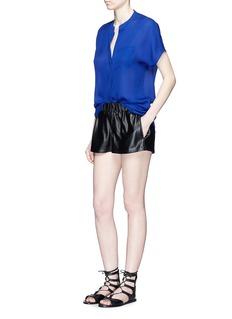VINCECap sleeve silk chiffon blouse