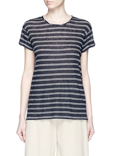 VINCE Double stripe rolled sleeve linen T-shirt
