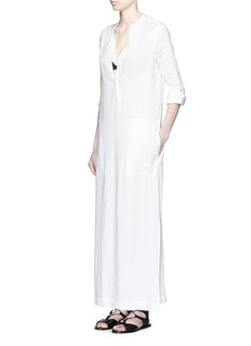 VINCEV-neck linen blend maxi dress