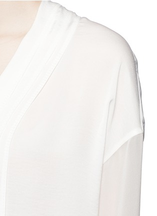 Detail View - Click To Enlarge - Vince - Embroidered V-neck satin blouse
