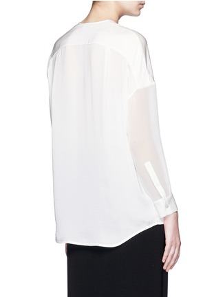 Back View - Click To Enlarge - Vince - Embroidered V-neck satin blouse