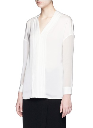 Front View - Click To Enlarge - Vince - Embroidered V-neck satin blouse