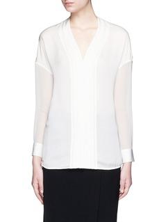 VINCEEmbroidered V-neck satin blouse