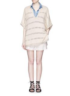 VINCESpeckle stitch stripe chunky knit sweater