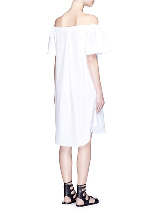 Back View - Click To Enlarge - Vince - Flutter sleeve off-shoulder shirt dress