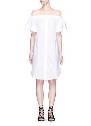 Main View - Click To Enlarge - Vince - Flutter sleeve off-shoulder shirt dress