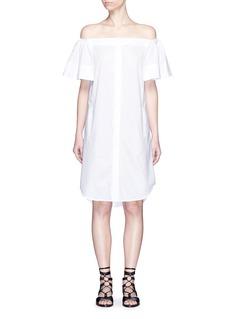 VINCEFlutter sleeve off-shoulder shirt dress