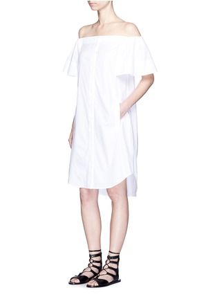 Figure View - Click To Enlarge - Vince - Flutter sleeve off-shoulder shirt dress